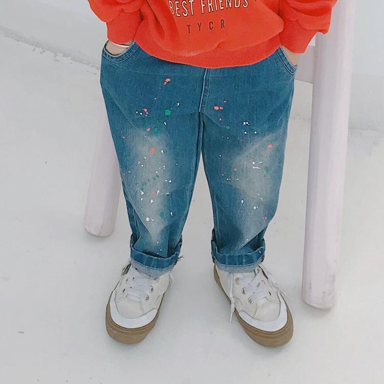 aa798e45ee Compre 2019 Otoño Nueva Llegada De Los Niños De Corea Moda Casual De Todos  Los Partidos De Pintura En Aerosol Pantalones Vaqueros Pantalones Para La  Moda ...