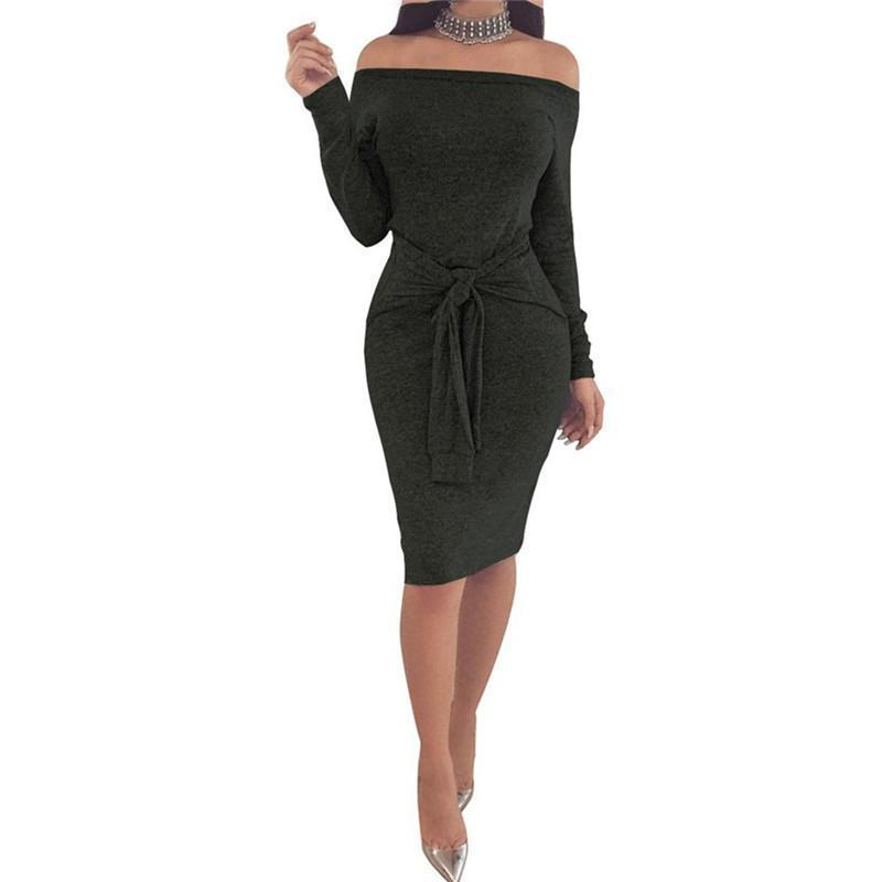 9d9d0f3d01 Solid Party Club Slash Neck Off The Shoulder Women Dress Autumn Long Sleeve  Summer Waist Bandage Sashes Women Vestidos Bodycon Semi Formal Dress Short  Black ...