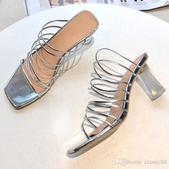 b3e4b1ced 2019 Summer Women S Sexy High Heels Strappy Sandal Ankle Strap Ladies Gladiator  Fringe Sandal Shoes Transparent Heel High Quality !