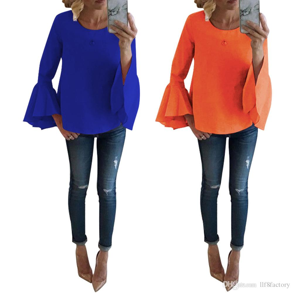 2019 New design ultra-fashion solid color casual ladies T-shirt hollow strapless sexy T-shirt large size breathable comfortable T-shirt 9129