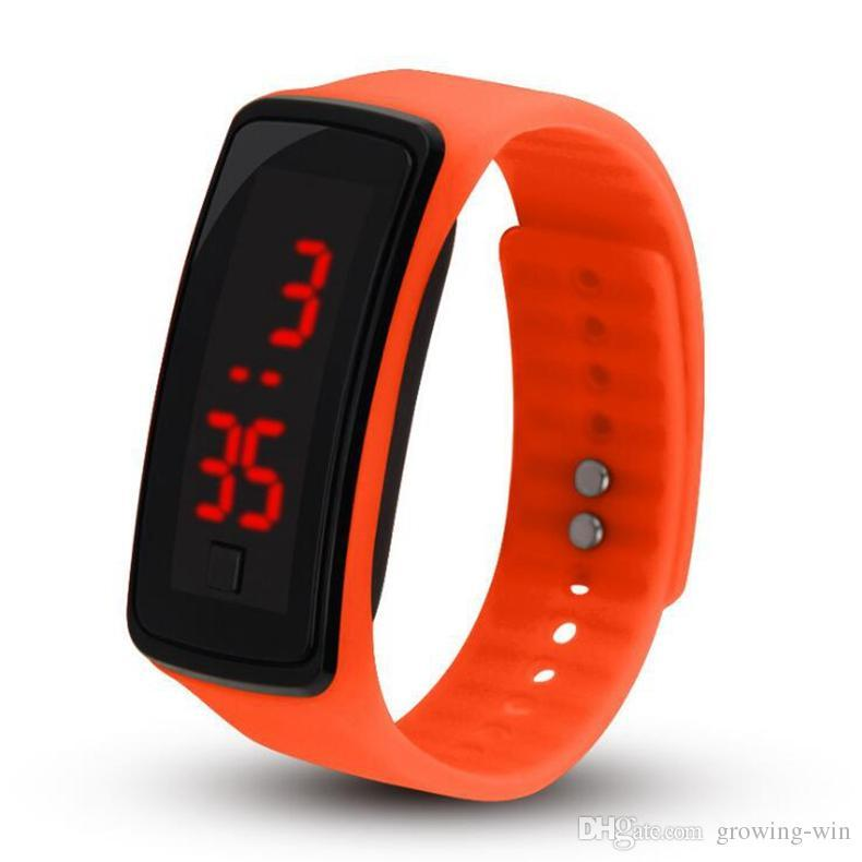 Hot wholesale New Fashion Sport LED Watches Candy Jelly men women Silicone Rubber Touch Screen Digital Watches Bracelet Wrist watch