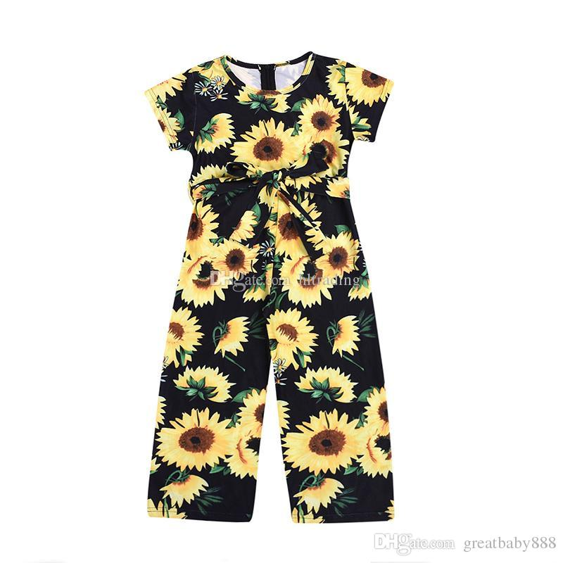 65c174ebe 2019 Baby Girls Sunflower Romper Newborn Infant Flower Print Jumpsuits 2019  Summer Fashion Boutique Kids Clothing C6361 From Greatbaby888, $6.23 |  DHgate.