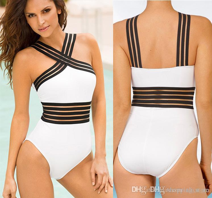 6c7709bb61c 2019 Halter Top Patchwork One Piece Swimsuit Female Push Up Bikini 2019  White Black Swimwear Women Monokini Vintage Bathing Suit New From  Shopping_store, ...