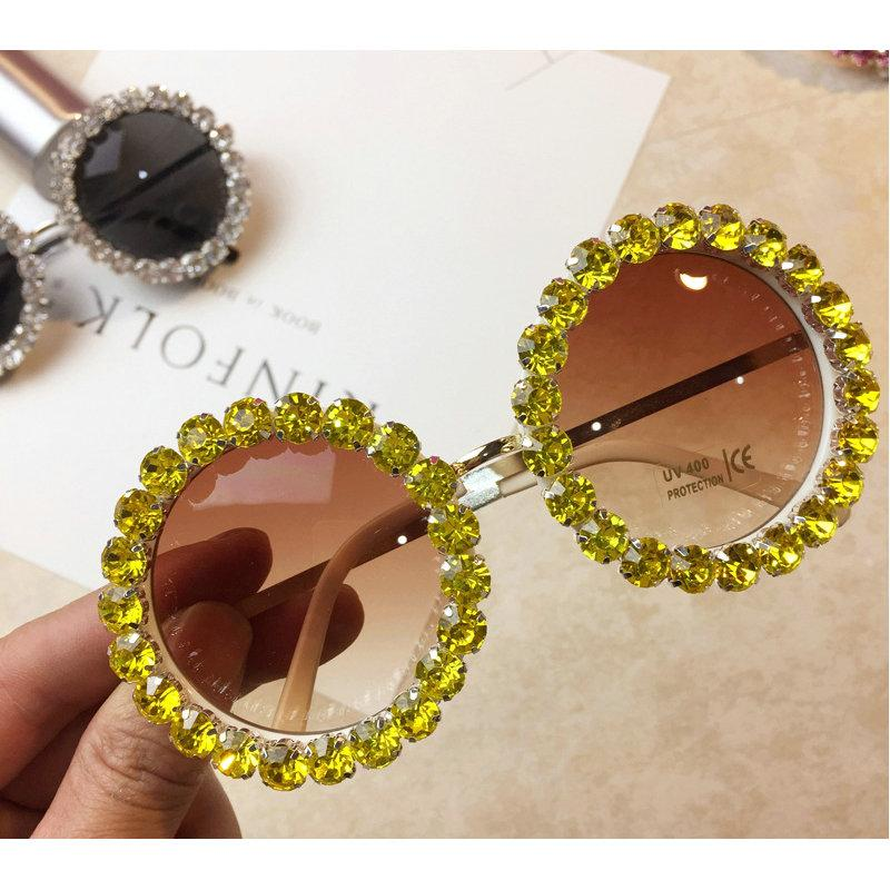 Diamond Sunglasses Handmade Sunglasses Retro Women Shades Brand Designer Fashion Lady Round eyeglasses Frame Luxury Eyewear NX