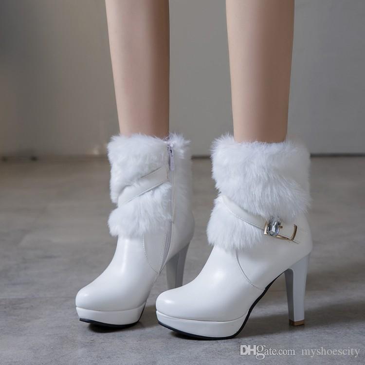 Grandi e piccole dimensioni 32 33 34 a 40 41 42 43 stivali di pelliccia bianco caldo inverno scarpe da sposa tengono il nero beige