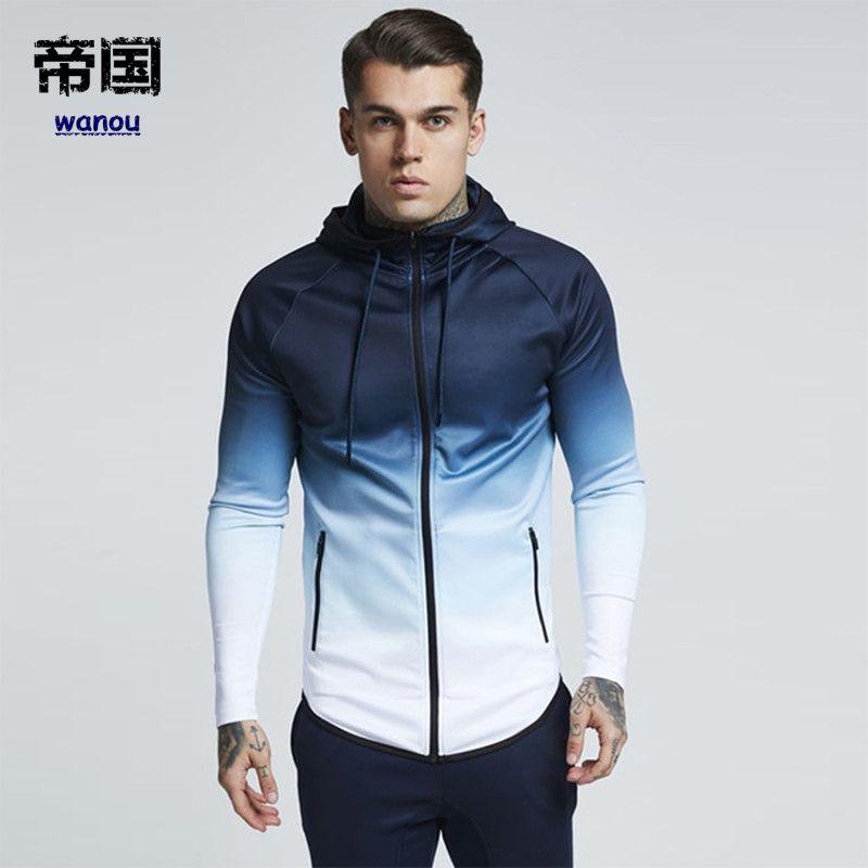 facfe7d9a8d4 Running Jacket Men Zipped Gradient Fitness Coat Hooded Jogging Hiking  Sweatshirts Gym Sport Jacket Basketball Hoodies Clothing Outfit Coats Fall  Coats Men ...