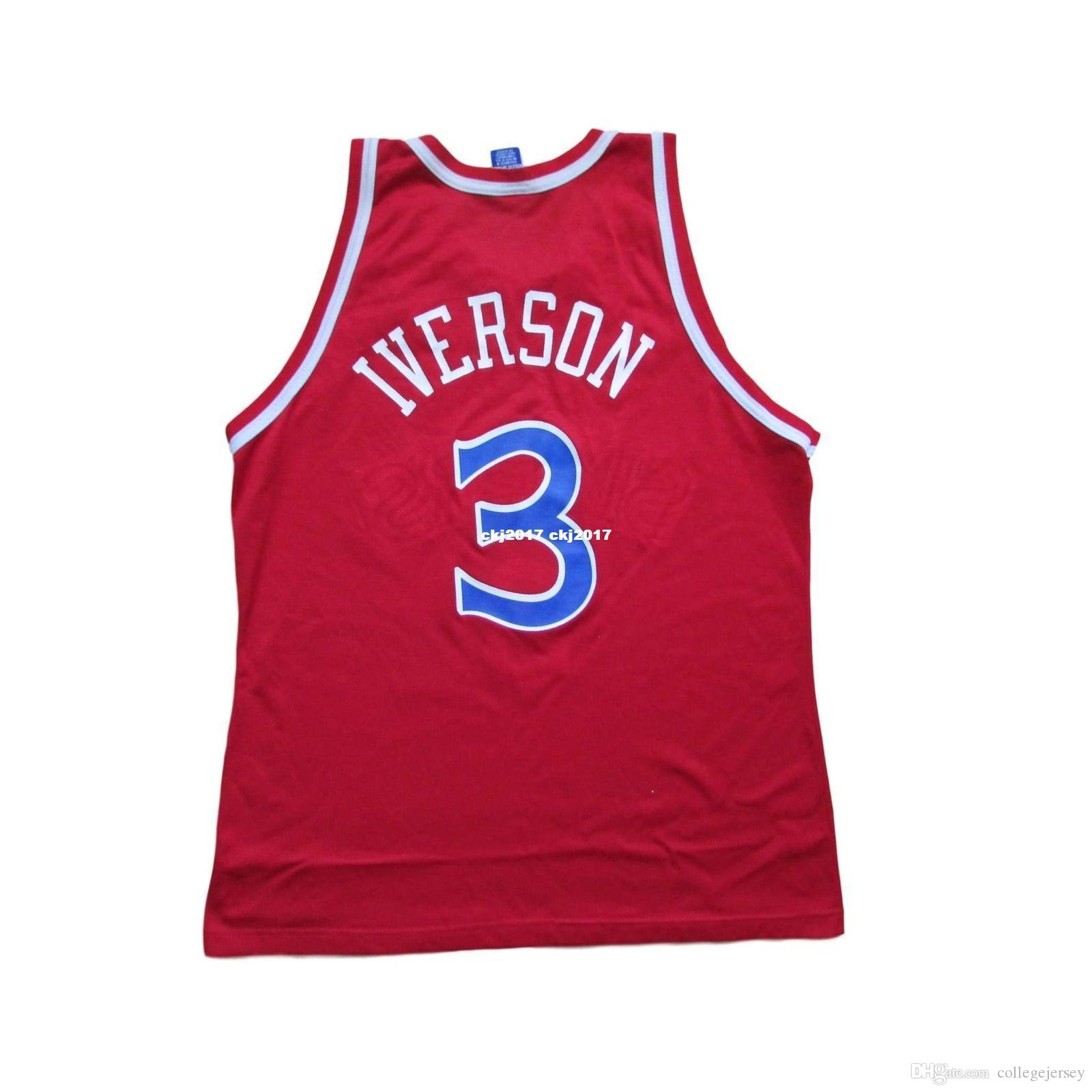cheap for discount 7fe50 e272b Sewn Allen Iverson #3 Basketball Jersey 1998 Champion Red Mens Vest Top  Size XS-6XL Stitched basketball Jerseys Ncaa