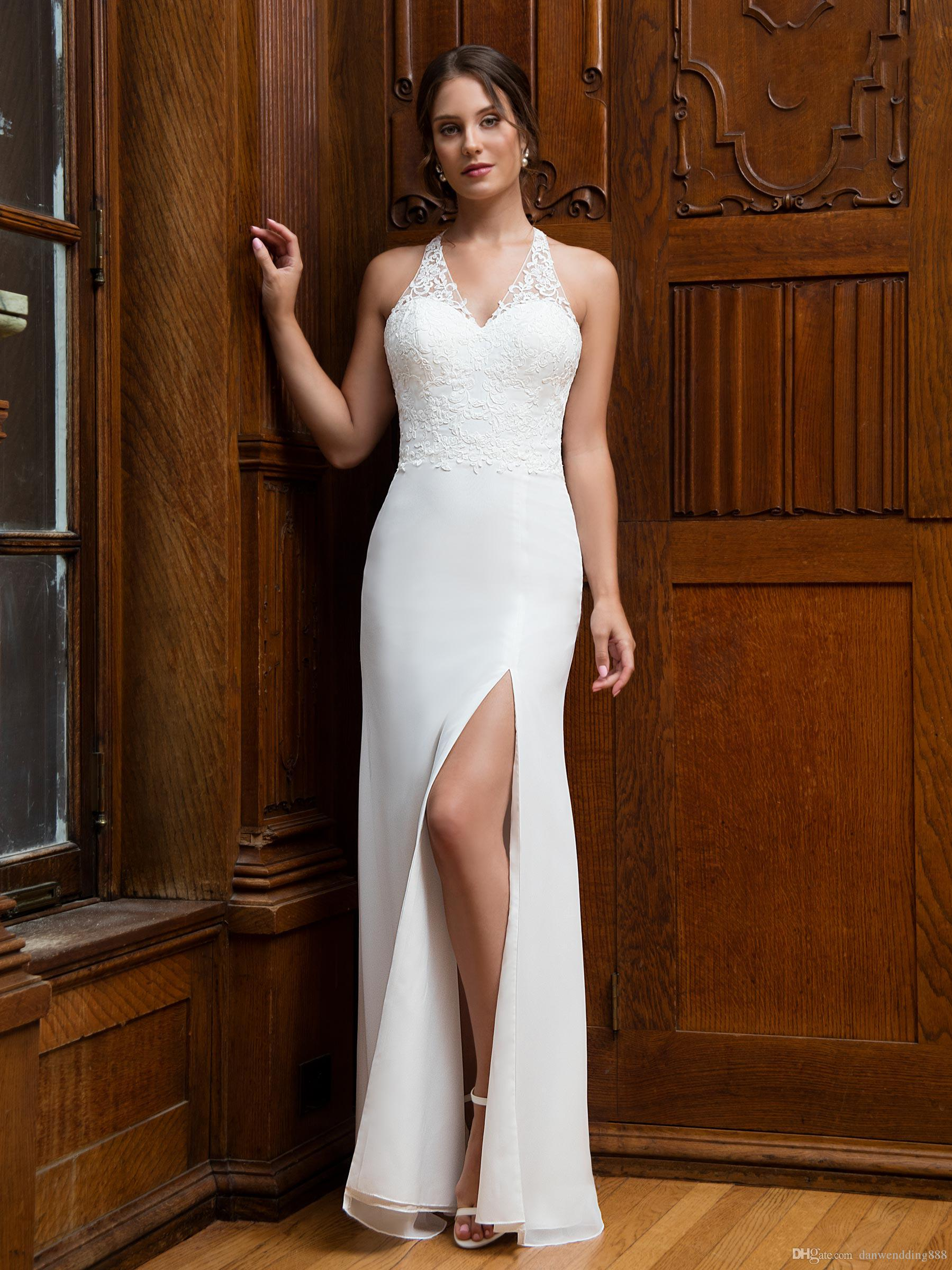 5481eab1fe8 Sexy White Ivory Chiffon Halter V Neck Slit Applique Sheath Wedding Dresses  Bridal Gowns Bridal Party Dresses Custom Size 2 18 WW212191 Halter Neck  Wedding ...