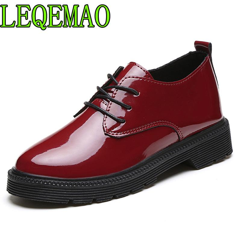 ace76450ead4 Dress Shoes 2019 Spring Women Oxford Square Heel Lace Up Cut Out Brogues  British Style Patent Leather Lady Retro Creepers Designer Shoes High Heel  Shoes ...