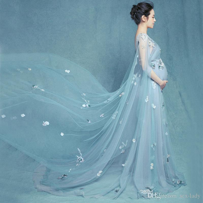 Photography Props Maternity Dresses for Photo Shoot Pregnancy Dress Pregnant Blue Mesh Perspective Elegant Studio Props