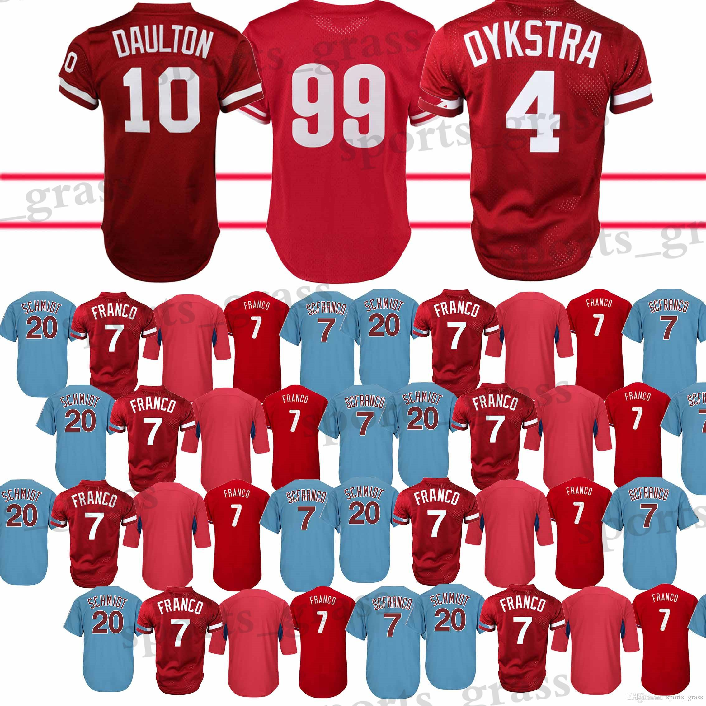 2019 Philadelphia Phillies Jersey 99 Mitch Williams 10 Darren Daulton 4  Lenny 7 Maikel Franco Jerseys Adult Shirt 2018 Top Quality From  Sports grass 742703fb205