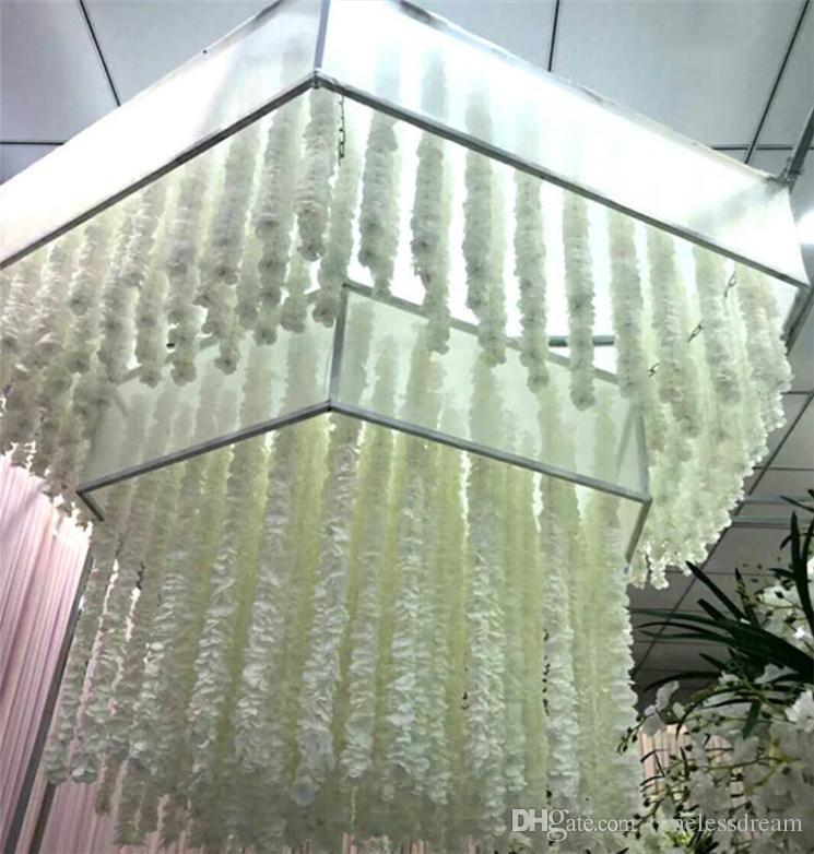 1M Long Artificial Silk Flowers Wisteria Vine Rattan Fake Flower Table Centerpieces Wedding Decoration Garden Home Wall Flower