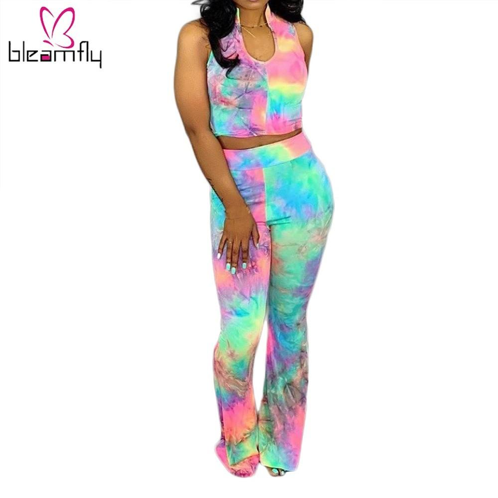 Rainbow Tie Dye Two Piece Set Women Turtleneck Sleeveless Crop Top High Waist Flare Long Pants Matching Sets Summer Casual Suit