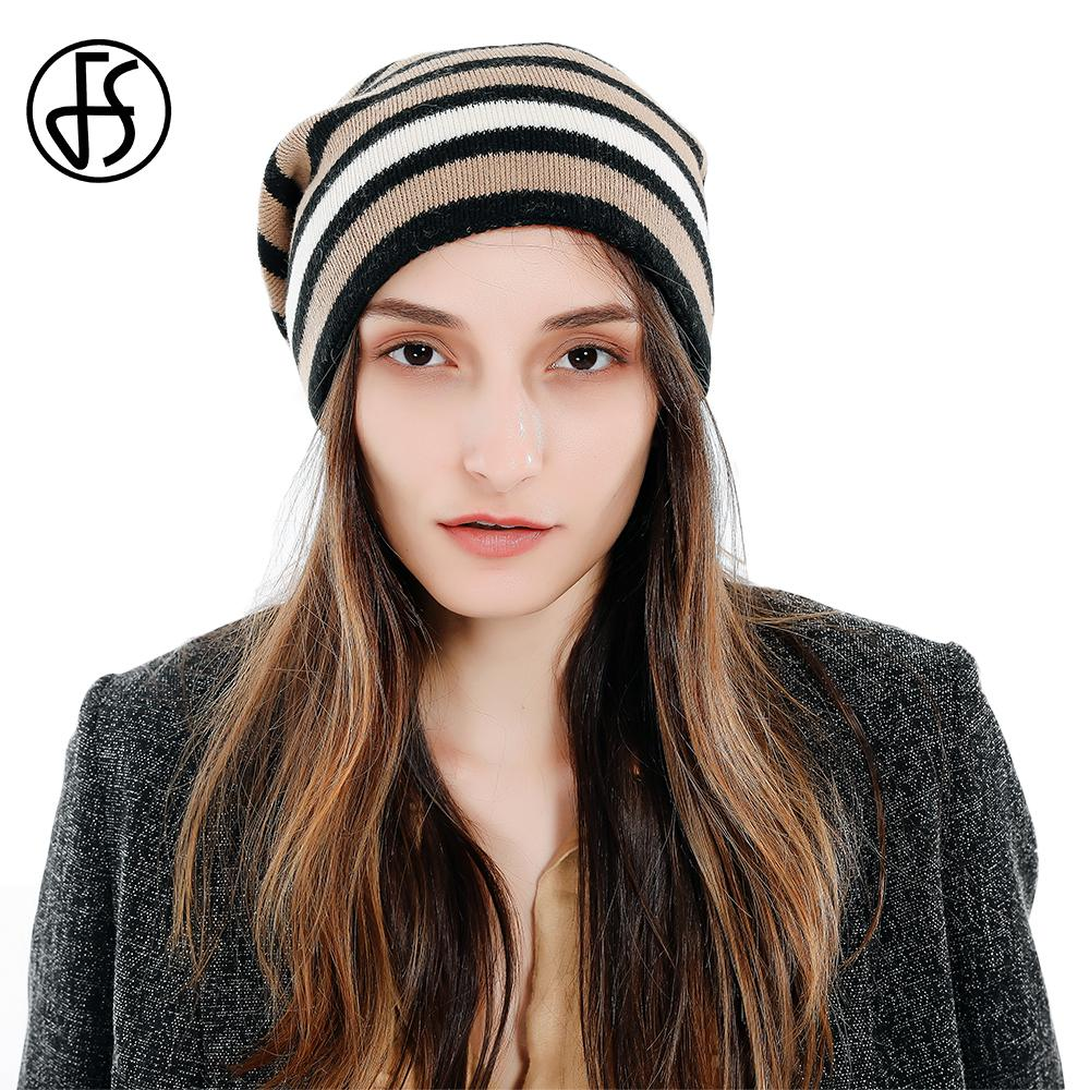 FS 2018 Black Wool Striped Winter Hats For Woman Warm Beanies Knitted Cute  Hat Girls Autumn Female Bonnet Ladies Casual Cap Custom Beanies Crochet  Beanie ... 1e3337ca820