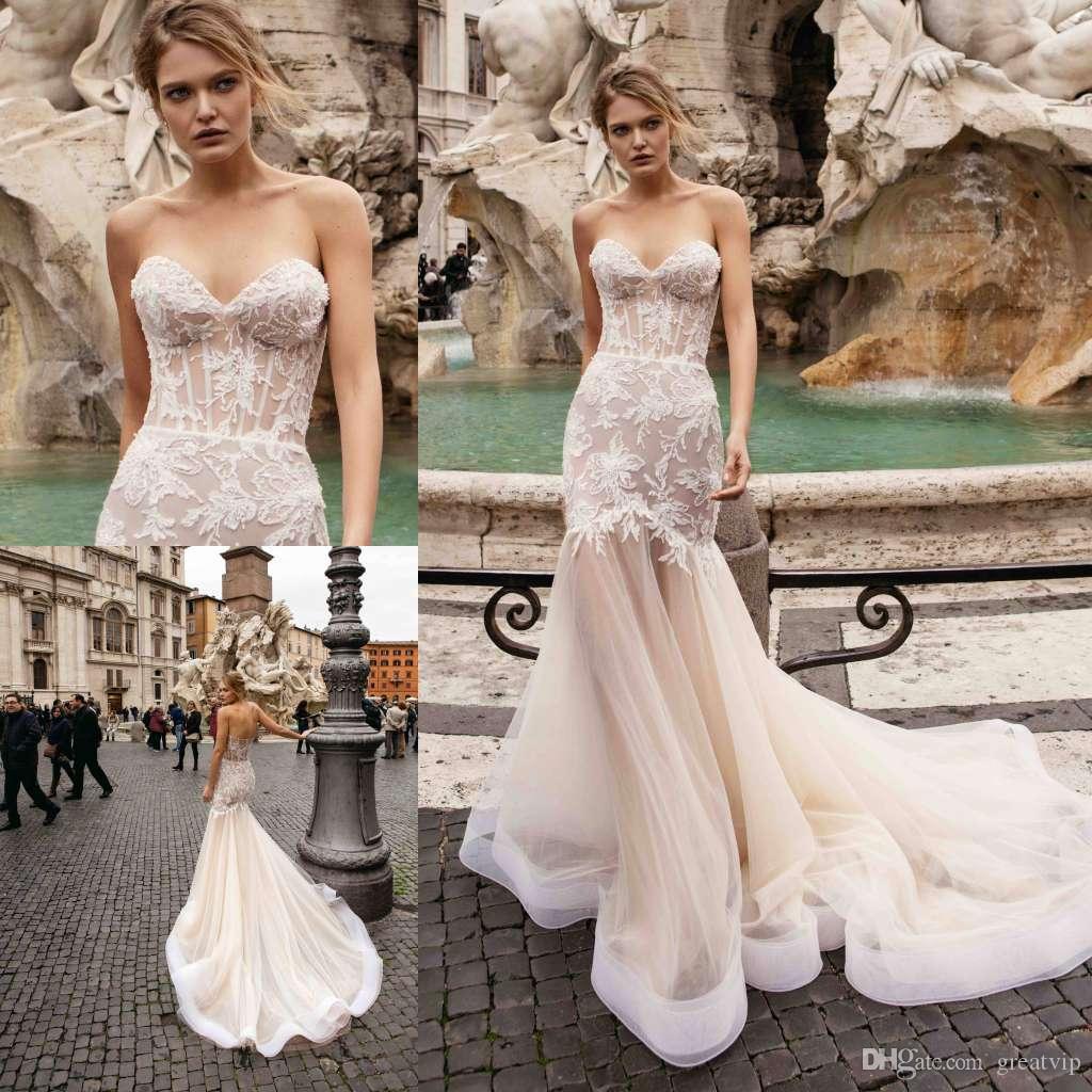 1131b8cced 2019 Berta Sexy Mermaid Wedding Dresses Sweetheart Lace Applique Sweep  Train Beach Boho Bridal Gowns Plus Size robe de mariée
