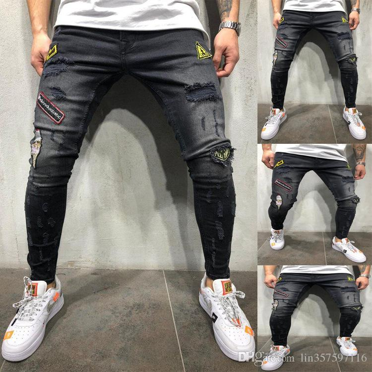 7d1fb452cae7f3 2019 Fashion Jeans Men Stretch Hip Hop Cool Streetwear Biker Patch Ripped Skinny  Jeans Slim Fit Mens Clothes From Lin357597116, $48.74   DHgate.Com