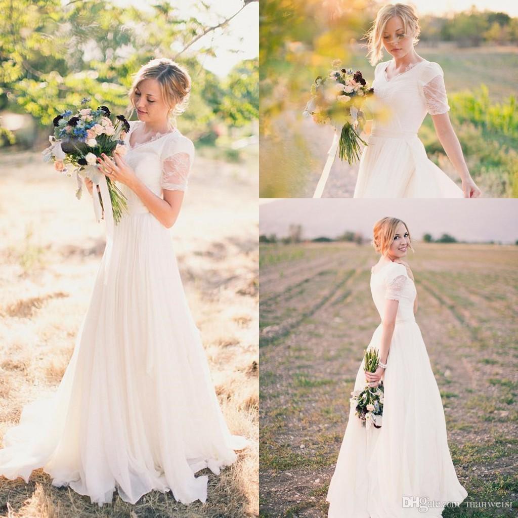 79844df093 Informal Modest 2019 Chiffon Wedding Dresses V Neck Cheap Simple Country  Short Sleeve Lace Bridal Gowns Vestidos De Novia