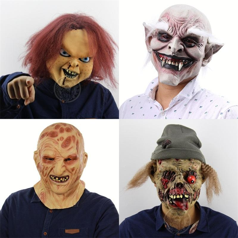 Scary Masks Halloween Latex Chucky Film Prop Burning Face Headgear Rotten Meat Zombies Mask Sell Well 33ft J1