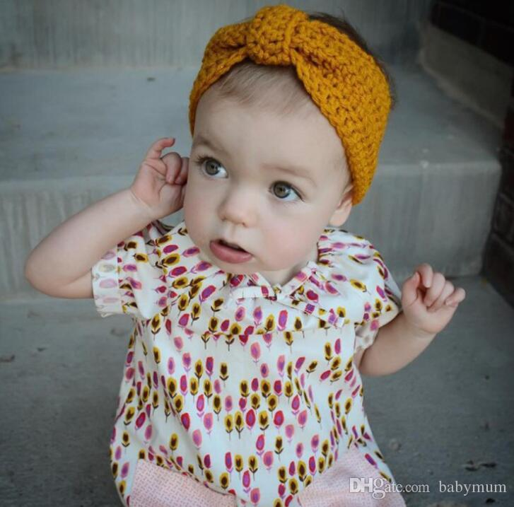 Großhandel Häkeln Baby Warm Stirnband Kinder Knoten Knoten Stirnband