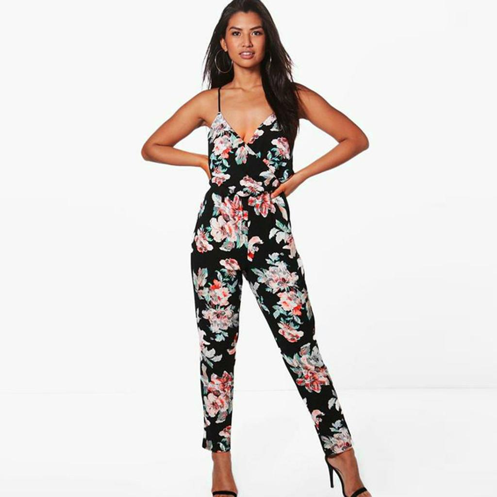 4814c6399ebf 2019 JAYCOSIN Strappy Bodysuit Black Women Strappy Off The Shoulder Printed  Playsuit Party Clubwear Jumpsuit Pants With Straps Z0110 From Fraoe