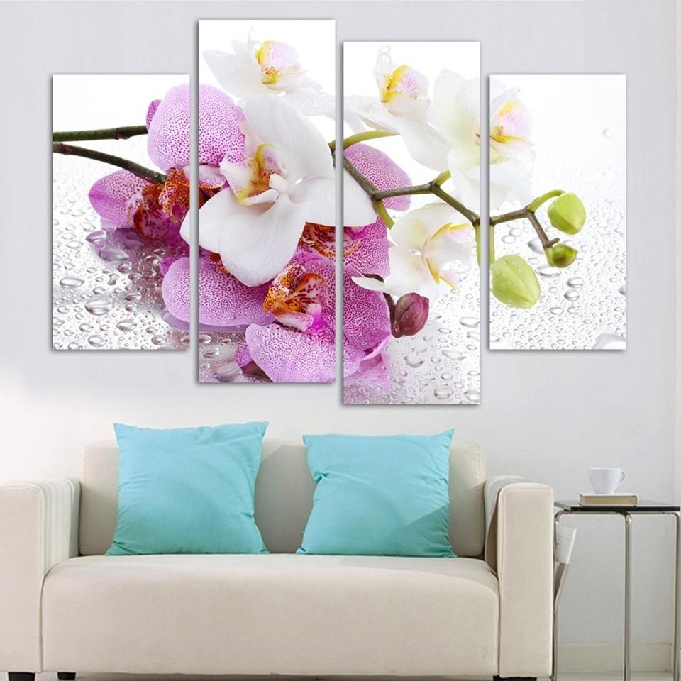 Wall Art Home Decoration 4 Piece Newly Picked Orchid With Dew Frame Canvas Painting Poster Living Room Modern HD Printed Pictures