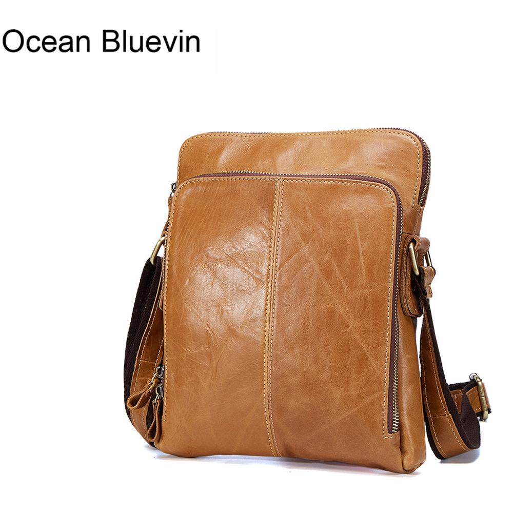 OCEAN BLUEVIN Genuine Leather Men Bags Male Cowhide Flap Bag Shoulder Crossbody Bags Handbags Messenger Small Men Leather Bag