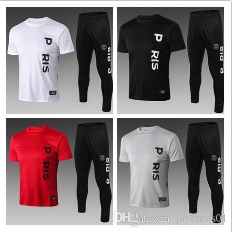 2ffd0153e24 PSG Paris Saint Germain Soccer Jerseys 18 19 Training Suit Tracksuit MBAPPE  Short Sleeve Football Shirt Jerseys 2019 PSG Adult Kit Uniforms PSG Paris  ...
