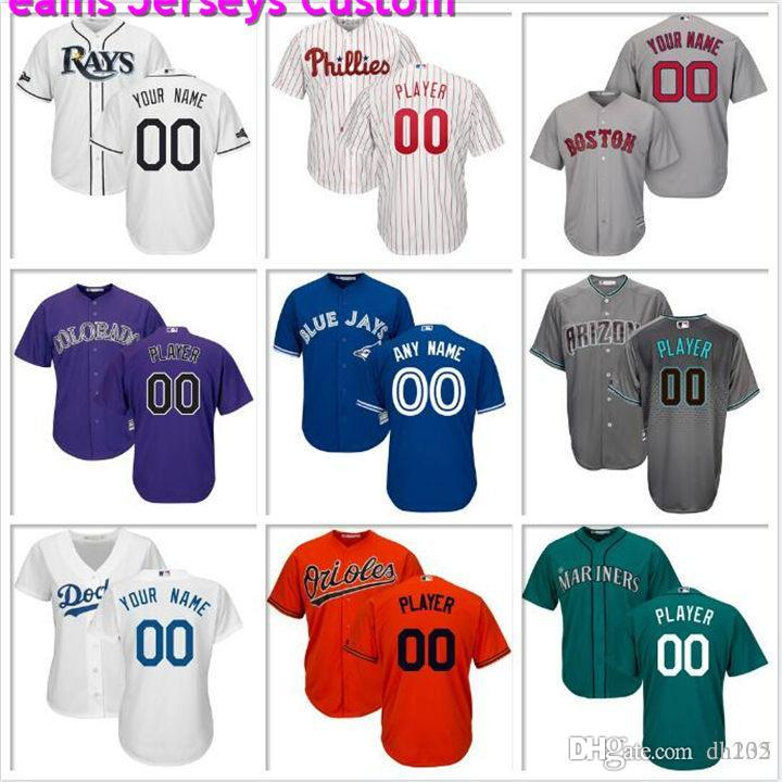 Custom Mens Baseball Jersey Philadelphia Phillies Seattle Mariners Texas Rangers Chicago Cubs Houston Astros Official cool base jerseys gray