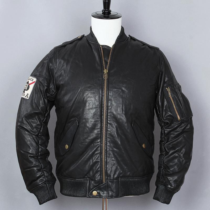 d334afbad08e5 Compre Avirex Fly Mens Down Jacket Hombres Chaqueta De Cuero Genuino Negro  Stand De Piel De Oveja Collar De Béisbol Abrigo De Invierno Para Hombre A   372.44 ...