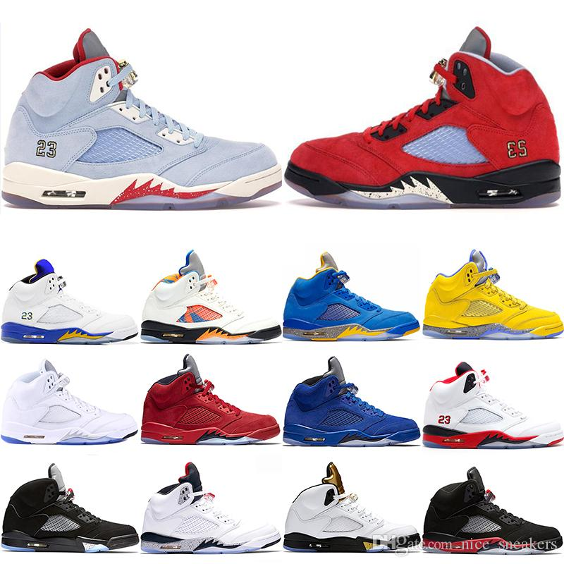acheter en ligne a9d7c c79b4 Nike Air Jordan 5 Retro Laney 5s Hommes Chaussures De Basket-ball 5 Race  International Flight Bleu Daim Blanc Ciment OG Métallique Noir Designer  Sport ...