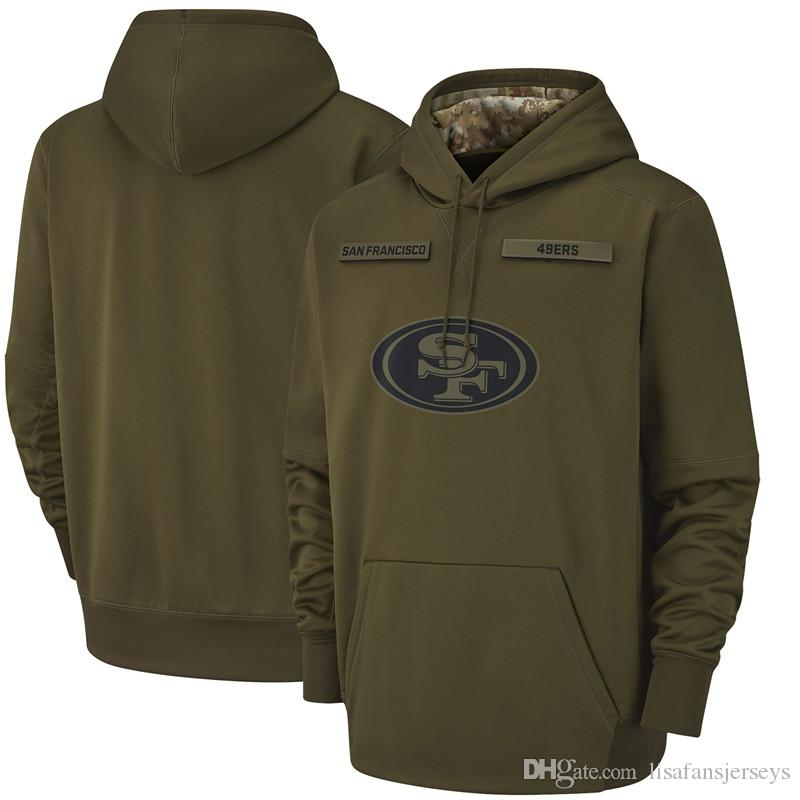 Men Pullover Sweatshirt Francisco Olive Sideline 2018 Salute Hoodie To San Service 49ers Therma Performance