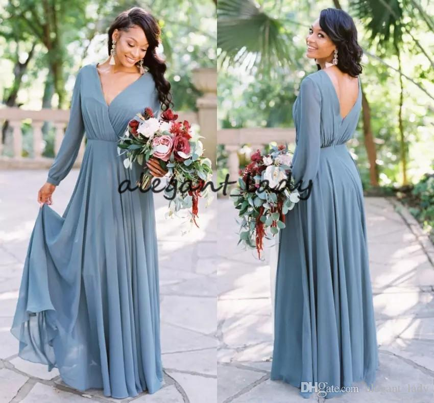 Dusty Blue Country Long Bridesmaid Dresses With Long