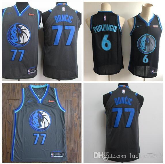 wholesale dealer a8bce 0c565 Men's Dallas Luka Mavericks 77 Doncic 6 Porzingis Anthracite City Version  Swingman Jersey