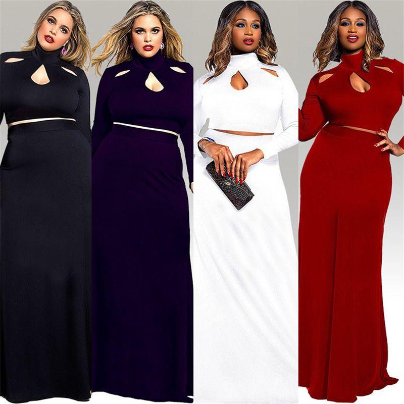 a75b97b7636 Plus Size Two Piece Set Maxi Dress Women Clothing 2019 Sexy Long Sleeve  Turtleneck Large Size Fat Vestidos Femininos Robe Femme FP2195 Formal  Evening Dress ...