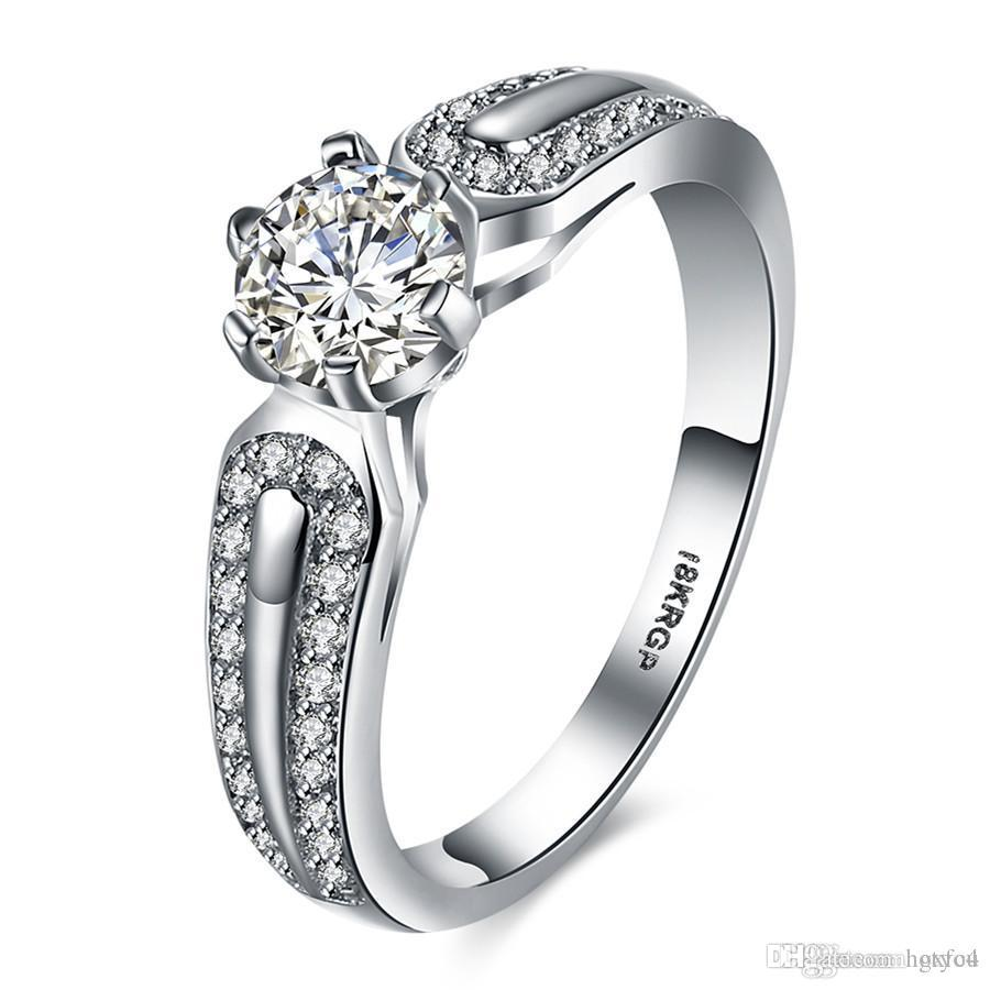 Hotyou Hotyou Shiny Cubic Zirconia CZ Diamond Rings Fashion Brand Jewelry 18KRGP White Gold Plated Engagement Anniversary Women Rings