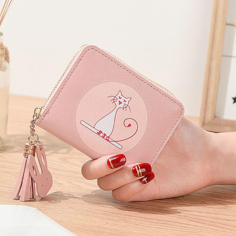 1Pc Lovely Cat Printed Wallet Women Cute Coin Bag Leather Card Holder Ladies Small Handbag Purse 10.8x9x3cm Cute