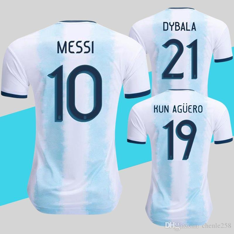 promo code 82593 eed36 Player Version Argentina Jersey 2019 Copa America Soccer Shirt Home Blue  White Messi DYBALA KUN AGUERO National Team Kits