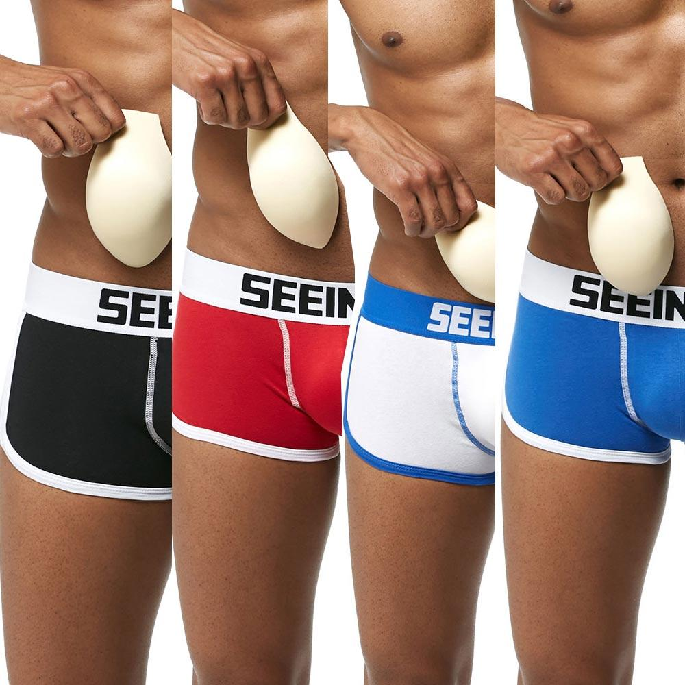 2ff6f2389b18 Men's Padded Trunks Removable Pad of Butt Lifter and Enlarge Penis Pouch  Removable Enhancement Pads Hip Briefs
