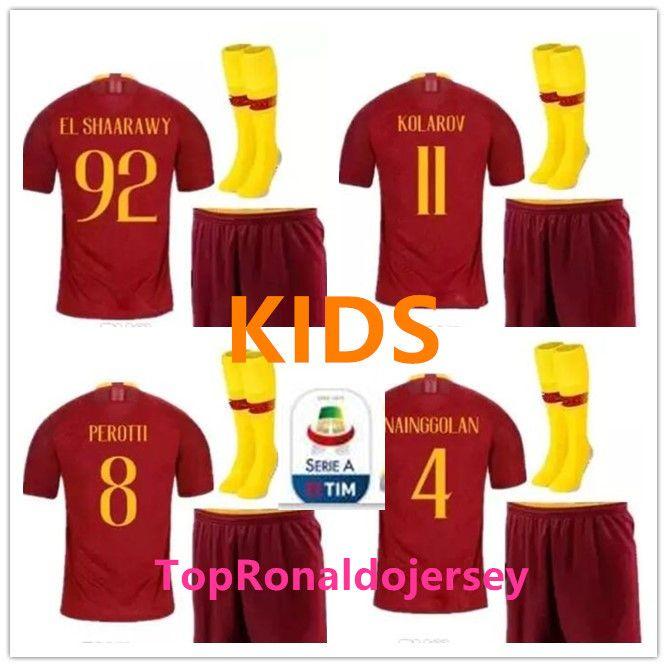bd0ef116602 2019 Roma 2018 2019 SOCCER Jerseys Kids KIT With Socks TOTTI DE ROSSI  Arrive 18 19 KIDS DZEKO EL Shaarawy Football Shirts Set + Patch From  Ronaldojersey