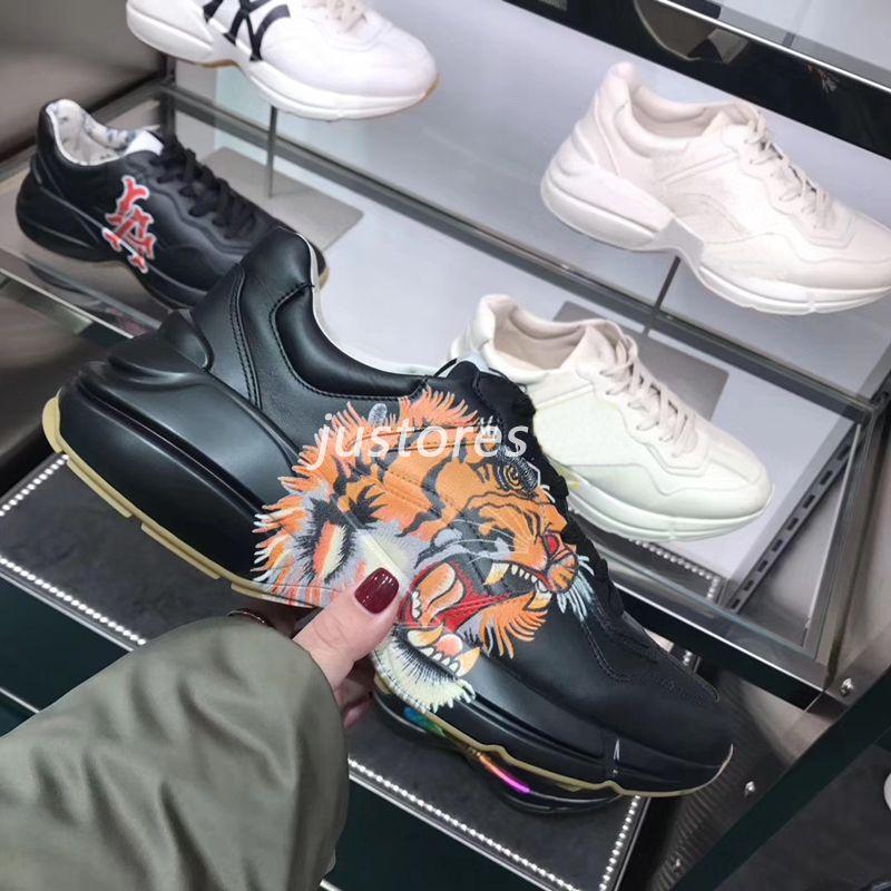 44571148b22313 2019 TOP Size 35 46 Fashion Men Women Designer Shoe Rhyton Vintage Tiger  Print Apollo Leather Sneakers Luxury Shoes Unisex Casual Shoe Scholl Shoes  Leopard ...