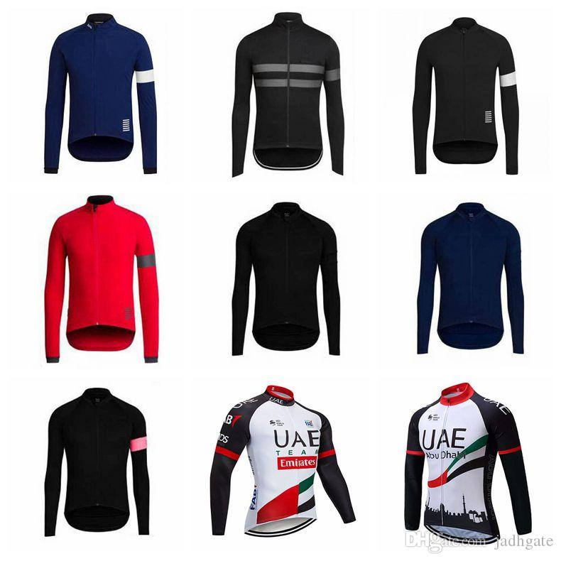 UAE Abu Dhabi RAPHA team Cycling long Sleeves jersey Spring and autumn Breathable Mens Clothing Wear resistant Quick drying U32514