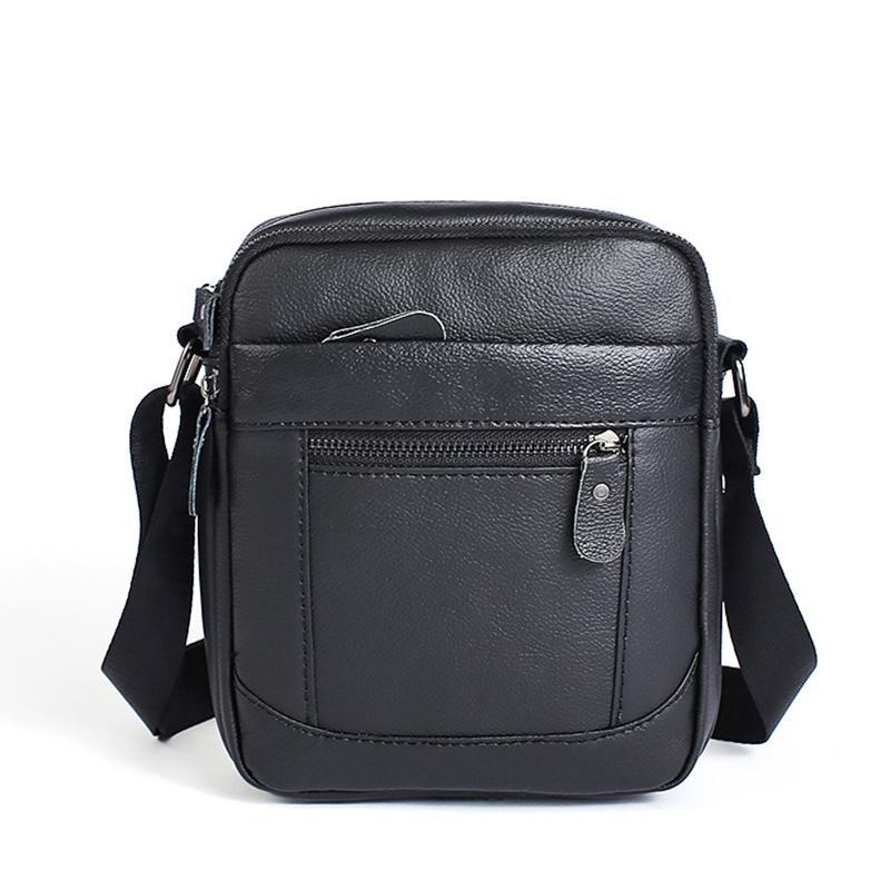 1f7239516734 Genuine Leather Messenger Bag Mens Vintage Designer Crossbody Bags Brand  Shoulder Bag Business Satchel (Coffee Black)