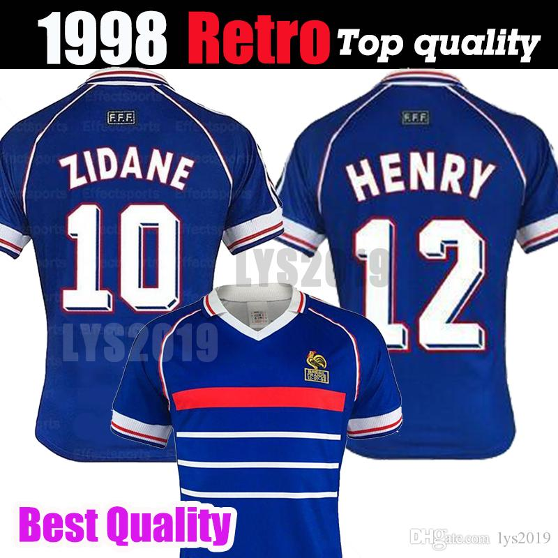 c677be86c12 2019 1998 Retro France Soccer Jersey Custom Name Number Zidane 10 Henry 12 Football  Shirts Top Quality Soccer Clothing French Big Size Xxl From Lys2019, ...