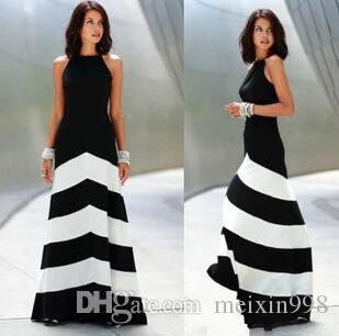 Le nuove donne Black White Striped Stitching Skirt Party Dresses Girl Slim abiti alla moda sexy e abiti lunghi