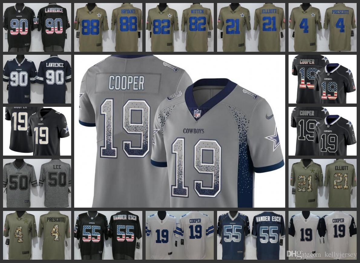 on sale a9254 94d28 Dallas Men Cowboys Jersey #19 Amari Cooper 4 Dak Prescott 21 Ezekiel  Elliott 88 Dez Bryant 90 Demarcus Lawrence Women Youth Football Jerseys