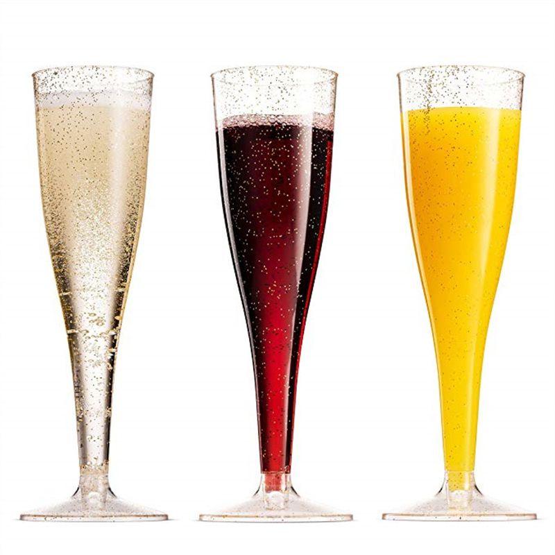 2019 Gold Glitter Plastic Champagne Flutes Clear Plastic Toasting