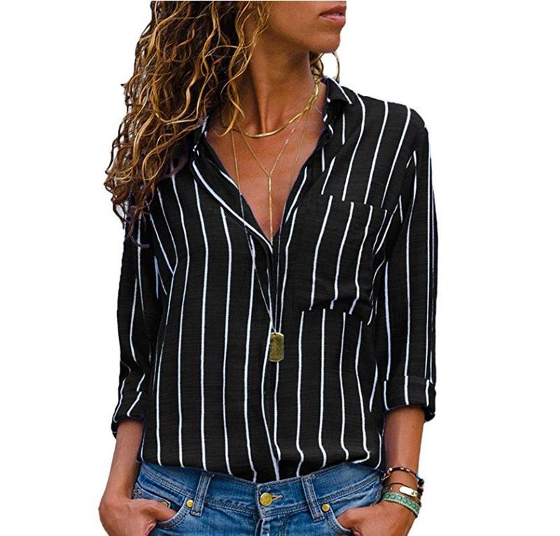 9869343a841a8 Compre Blusa De Rayas Rojas Negras Para Mujer Tops Y Blusas Mangas Largas Mujeres  Blusas Mujer De Moda 2018 Otoño V Cuello Blusa Camisa A  11.06 Del ...