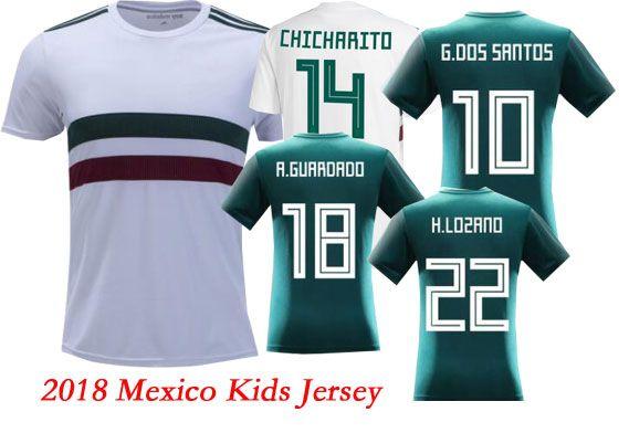 ec7d891e5 2019 2018 World Cup Mexico CHICHARITO Kids Soccer Jerseys H.LOZANO A. GUARDADO Home Away Shirts National Team R.JIMENEZ H.HERRERA LAYUN Jersey  From ...