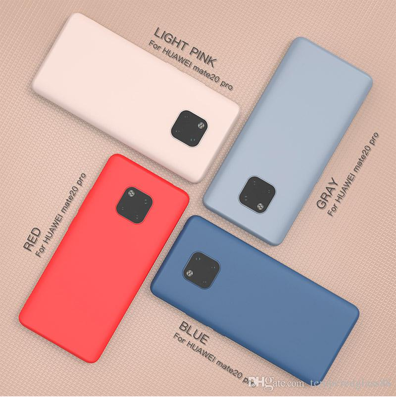 newest 4b683 39df7 Original Thin Liquid Silicone Case for Huawei Mate 20 Pro Gel Rubber Phone  Cover Protective Case for Huawei Mate 20