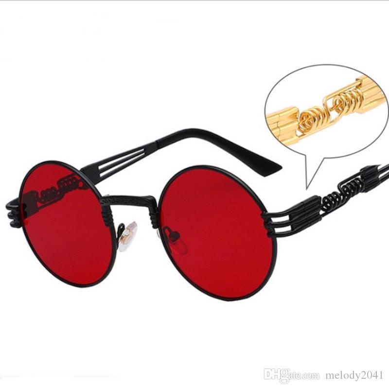 e68d1f0769a8a Hot Sale Steam Punk Sunglasses Metal Round Frame Designer Sunglasses Alloy Spring  Temples Unisex Wholesale Sport Sunglasses Prescription Sunglasses Online ...